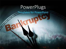 PowerPlugs: PowerPoint template with crisis depiction with downward chart and clock face at bankruptcy