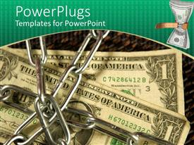 PowerPoint template displaying crisscrossed silver chains over dollar bills