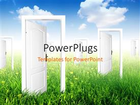 PowerPlugs: PowerPoint template with a crop with a number  of open doors