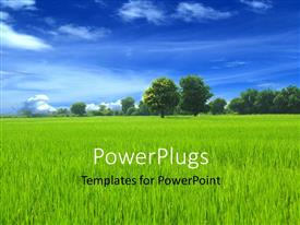 PowerPoint template displaying a crop with a number of trees in the background