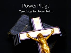 PowerPlugs: PowerPoint template with cross with gold Jesus on Holy Bible over black background