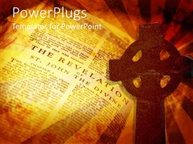 PowerPoint template displaying a cross with a holy book in the background