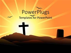 PowerPoint template displaying a cross on a mounatain with a sun rise