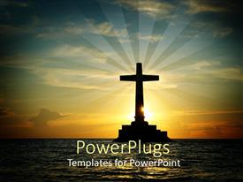 PowerPlugs: PowerPoint template with cross on ocean in horizon with glistening sunset rays