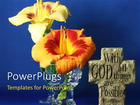 PowerPlugs: PowerPoint template with cross with religious text engraved with flowers on blue background