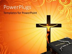 PowerPlugs: PowerPoint template with a cross with a rosary on a Holy Bible