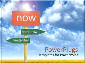 PowerPlugs: PowerPoint template with crossroads with tomorrow, yesterday directional signs, red now sign