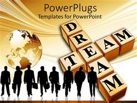 PowerPlugs: PowerPoint template with crossword dream team with group of people carrying briefcases and globe