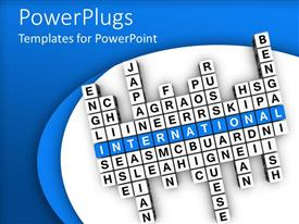PowerPoint template displaying crossword puzzle with different words and international text in blue