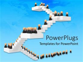PowerPlugs: PowerPoint template with crowd of figures in business attire climbing white staircase