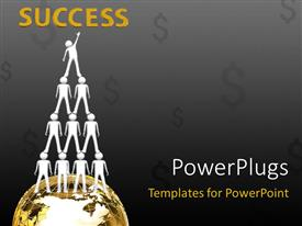 PowerPoint template displaying crowd one over other forming series standing over the globe with dark grey color and dollar signs