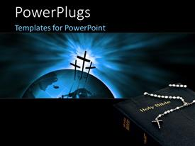 PowerPlugs: PowerPoint template with crucifix on a 3D Globe over a glowing background with a holy bible
