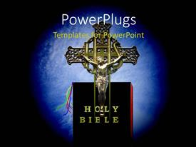 PowerPoint template displaying crucifix with Christ nailed to cross on the Holy Bible