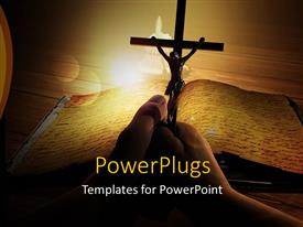 PowerPlugs: PowerPoint template with religious depiction with crucifix over old religious book on wooden table