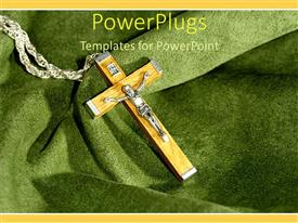 PowerPoint template displaying crucifix with wooden cross laying on green cloth