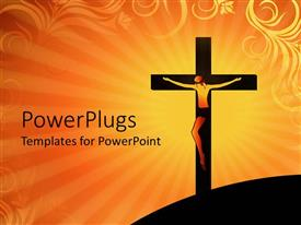 PowerPlugs: PowerPoint template with crucifixion of Jesus Christ on cross over orange colored background