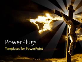 PowerPlugs: PowerPoint template with the crucifixion of Jesus with clouds in the background