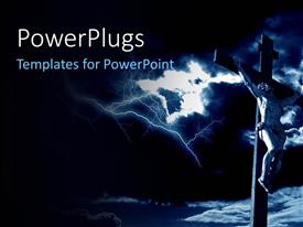 PowerPlugs: PowerPoint template with a cross and Jesus with clouds int he background
