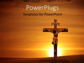 PowerPlugs: PowerPoint template with the crucifixion of Jesus with a sunset in the background