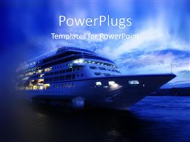 PowerPlugs: PowerPoint template with cruise ship ocean liner on ocean sea after sunset
