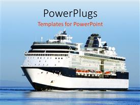PowerPlugs: PowerPoint template with cruise ship sailing towards harbor with reflection in sea
