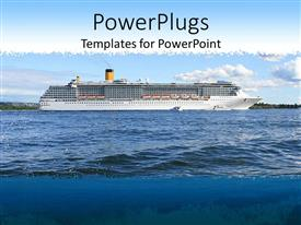 PowerPlugs: PowerPoint template with cruise ship on sea on sunny day of summer scenery