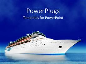 PowerPlugs: PowerPoint template with cruise ship on sea water with blue sky in the background