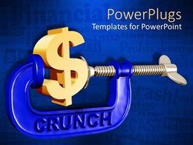 PowerPlugs: PowerPoint template with crunch clamp squeezing 3D golden dollar sign on background with words related to financial situation, forecast, crash