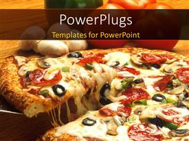 PowerPoint template displaying crunchy pizza and topping close up with vegetables