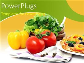 PowerPlugs: PowerPoint template with crunchy veg Pizza with toppings and vegetables