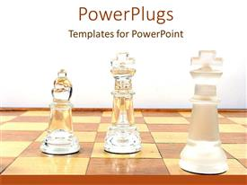 PowerPlugs: PowerPoint template with crystal chess pieces arranged on board against white background