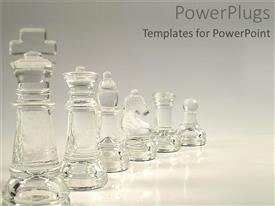 PowerPlugs: PowerPoint template with crystal chess pieces in a line on white background