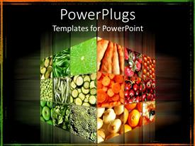 PowerPlugs: PowerPoint template with cube with different fruits and vegetables in dark background