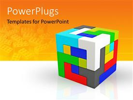 PowerPlugs: PowerPoint template with a cube made of various colored parts and orange background