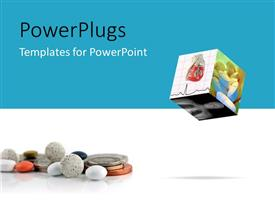 PowerPlugs: PowerPoint template with cube with medical depictions with pills and coins