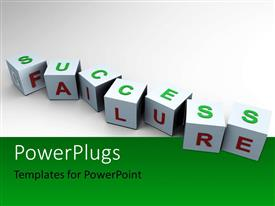 PowerPlugs: PowerPoint template with cubes with letters forming words SUCCESS and FAILURE