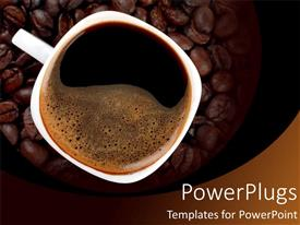 PowerPlugs: PowerPoint template with a cup of black coffee with espresso beans in the background