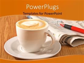 PowerPlugs: PowerPoint template with a cup of coffe with a newspaper in the background