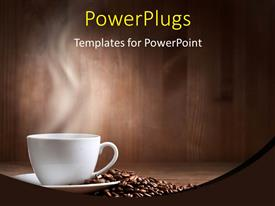 PowerPlugs: PowerPoint template with a cup of coffee along with a number of coffee beans