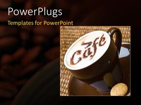 PowerPoint template displaying a cup of coffee with beans in the background