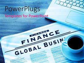 PowerPlugs: PowerPoint template with a cup of coffee being placed over a finance newspaper