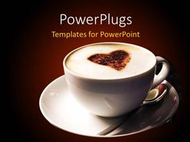 PowerPlugs: PowerPoint template with a cup of coffee with browish background