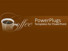 PowerPoint template displaying a cup of coffee with brown background and place for text