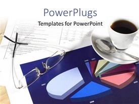 PowerPoint template displaying cup of coffee and business financial pie charts with documents