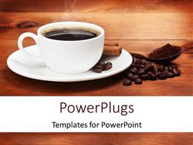 PowerPlugs: PowerPoint template with a cup of coffee with a lot of coffee beans and wooden background