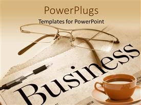 PowerPlugs: PowerPoint template with a cup of coffee with the newspaper