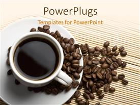 PowerPoint template displaying a cup of coffee with a number of coffee beans