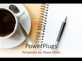 PowerPoint template displaying a cup of coffee with a pen
