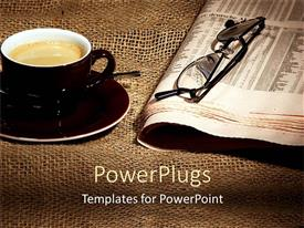 PowerPlugs: PowerPoint template with cup of coffee on saucer and newspaper with eyeglasses on rustic tablecloth