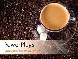 PowerPoint template displaying cup of coffee and sugar cubes , with coffee beans in the background